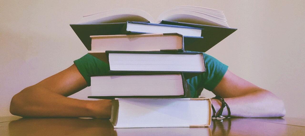 סטודנט בודק איך כותבים עבודה אקדמית