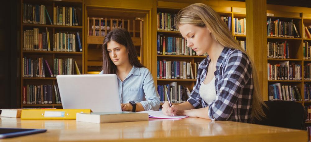 סטודנטיות כותבות סמינריון בכלכלה